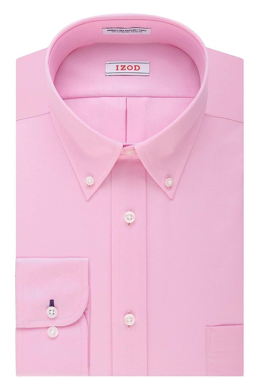 Izod mens Twill Regular Fit Solid Button Down Collar Dress Shirt Izod Dress Shirts 2301155