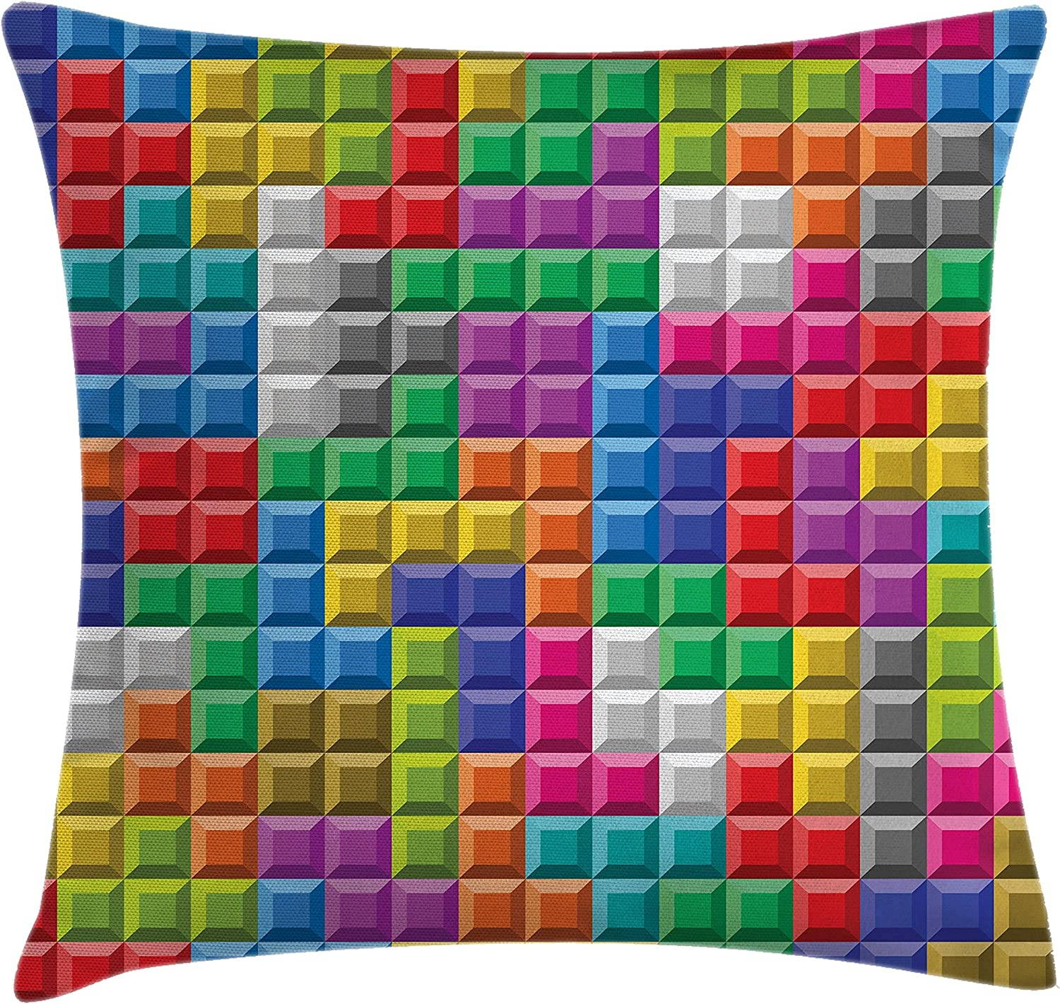 """Ambesonne Video Games Throw Pillow Cushion Cover, Colorful Retro Gaming Computer Brick Blocks Image Puzzle Digital 90's Play, Decorative Square Accent Pillow Case, 16"""" X 16"""", Multicolor"""