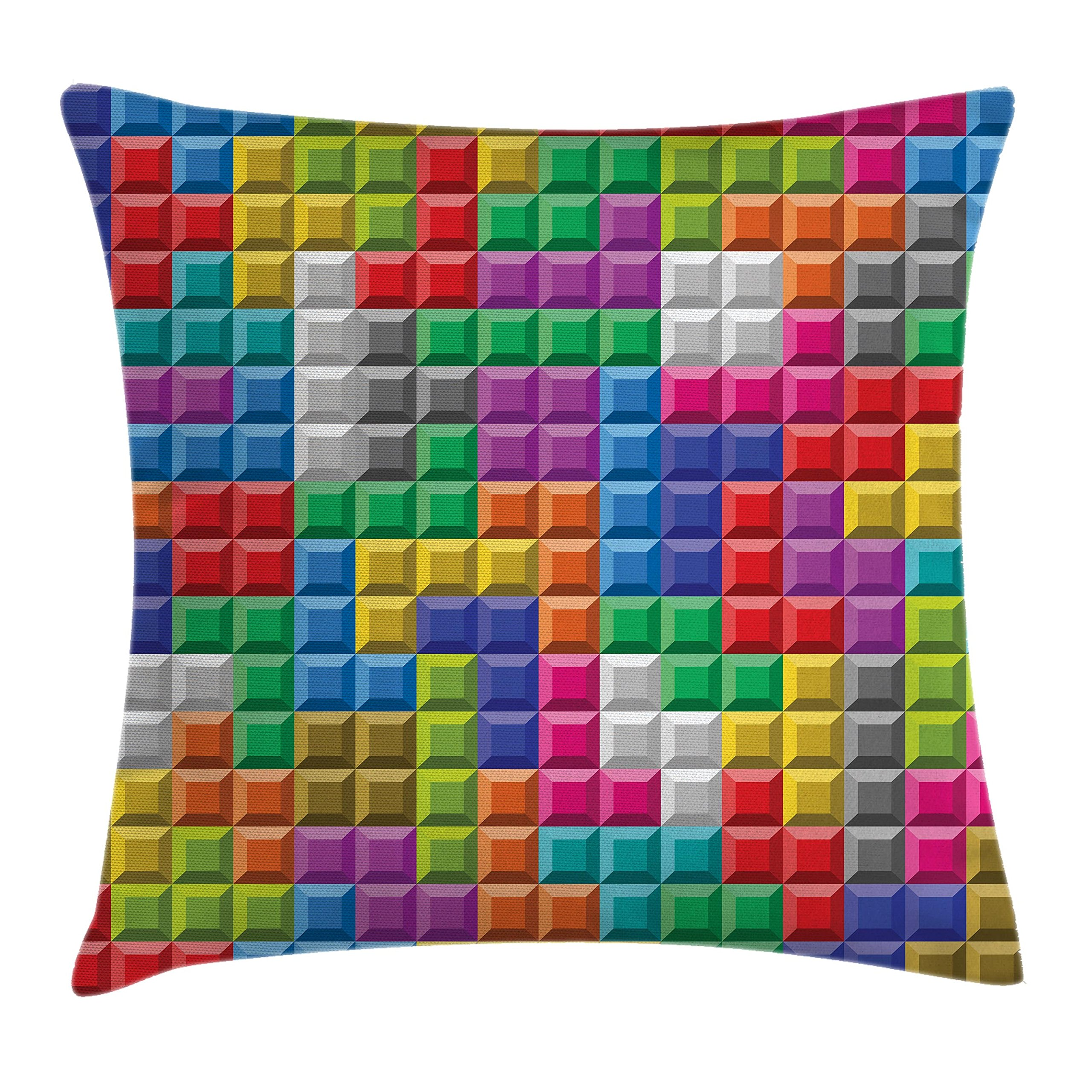 Ambesonne Video Games Throw Pillow Cushion Cover, Colorful Retro Gaming Computer Brick Blocks Image Puzzle Digital 90's Play, Decorative Square Accent Pillow Case, 18 X 18 Inches, Multicolor
