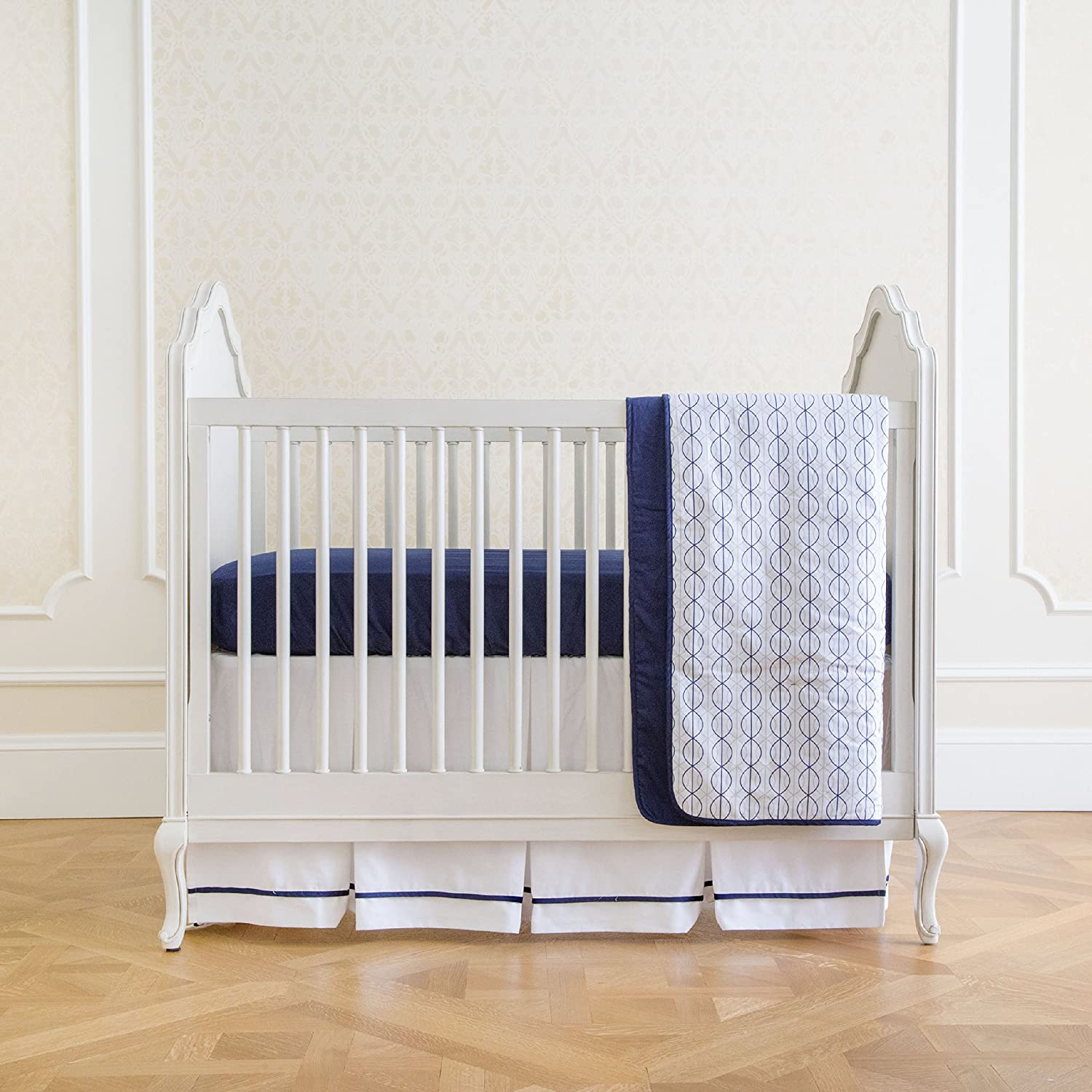 Nautical Navy Summer Infant 4-Piece Classic Bedding Set with Adjustable Crib Skirt, Medallion Taupe