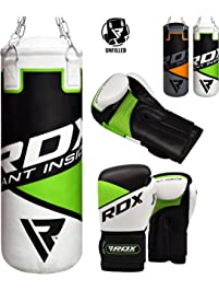 RDX Unfilled Punching Bag Kick Boxing Set Gloves MMA Chains Training Muay Thai