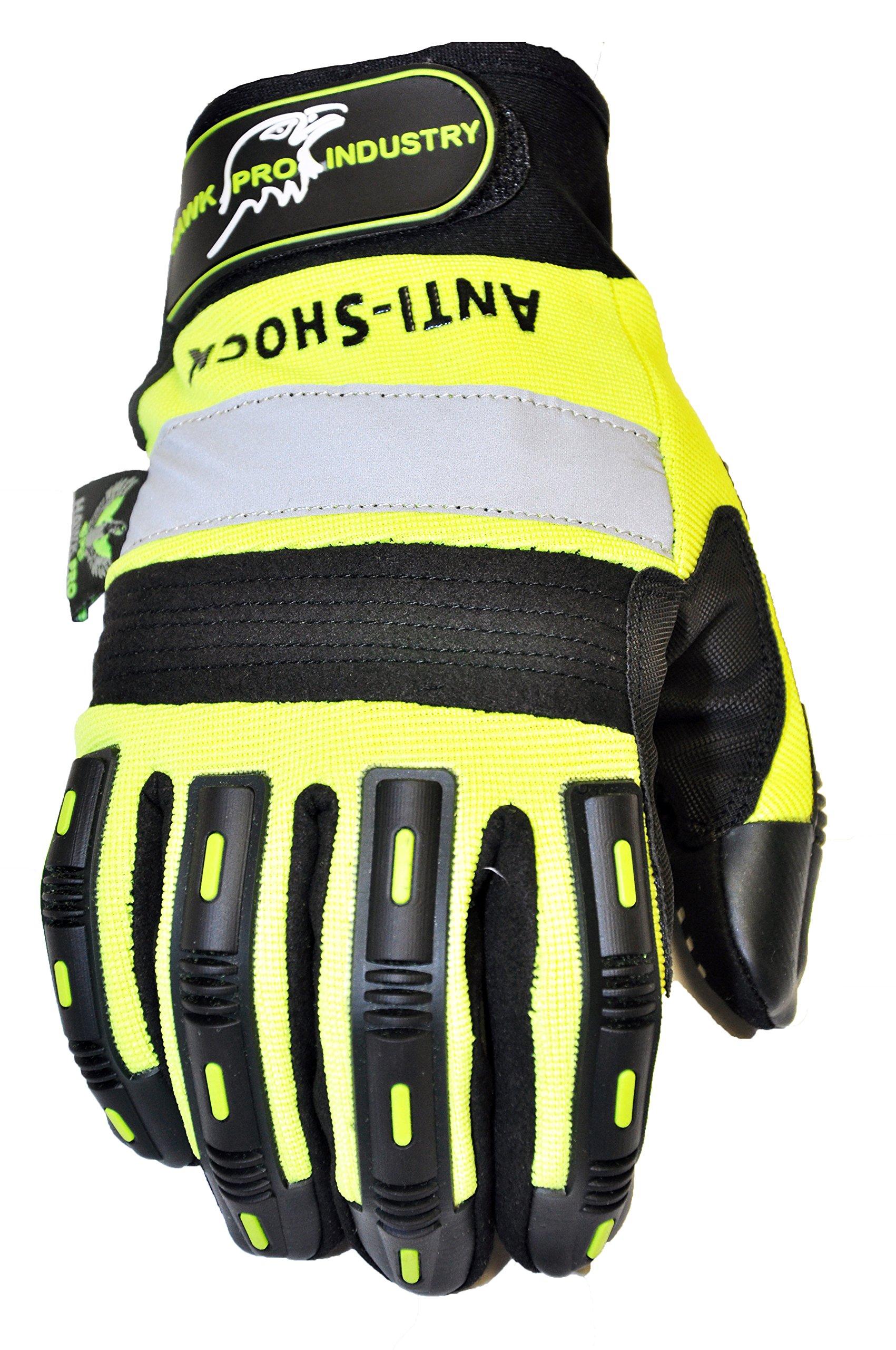 HAWK PRO PRO-0511XL Anti Slip Mechanics Glove, X-Large, Green