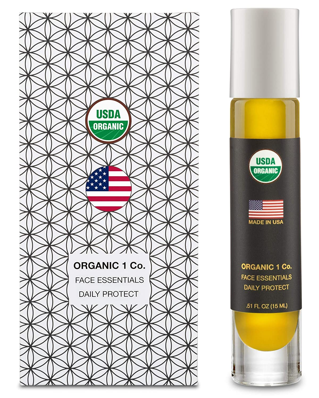 Face Essentials Daily Protect Moisturizer by ORGANIC 1 Co. Radiant Glow Facial Oil Serum. Rosehip, Pomegranate, Ylang Ylang, Clary Sage, Geranium, Shea, Almond, Avocado, Baobab Carrot Sunflower Jojoba