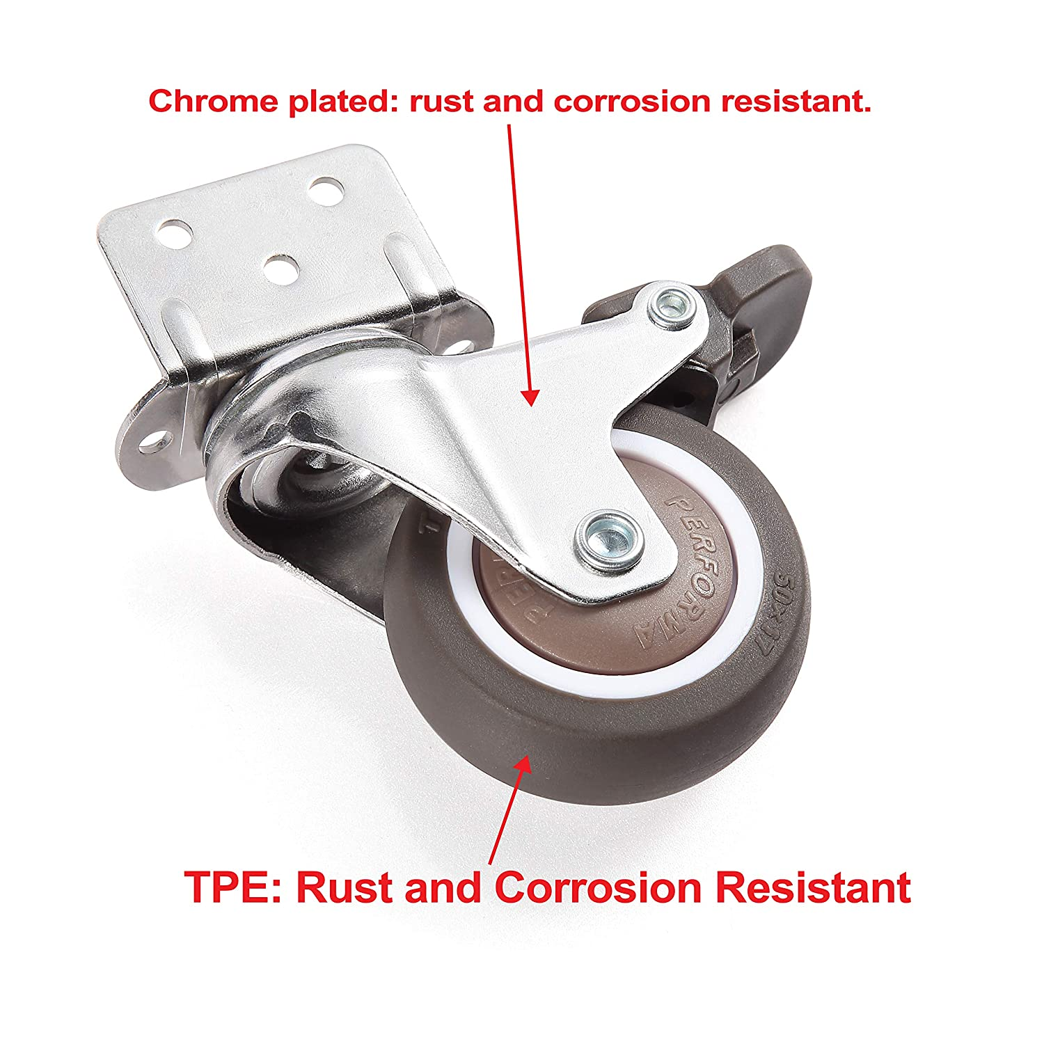 Skelang 4 Pcs 2 Inches Swivel Plate Casters with Brake Table L- Shaped Mute Wheels Replacement for Baby Bed Furniture TPE Caster Loading Capacity 240 Lbs Carts Trolley Kitchen Cabinet