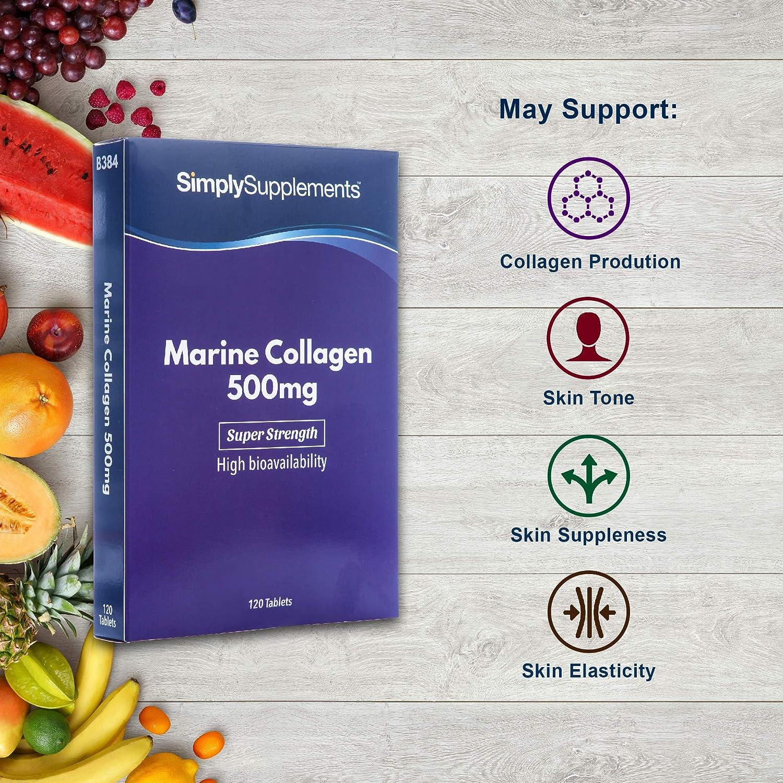 Colágeno 500mg - 120 comprimidos - Hasta 4 meses de suministro - Favorece la salud de la piel y las articulaciones - SimplySupplements: Amazon.es: Salud y ...