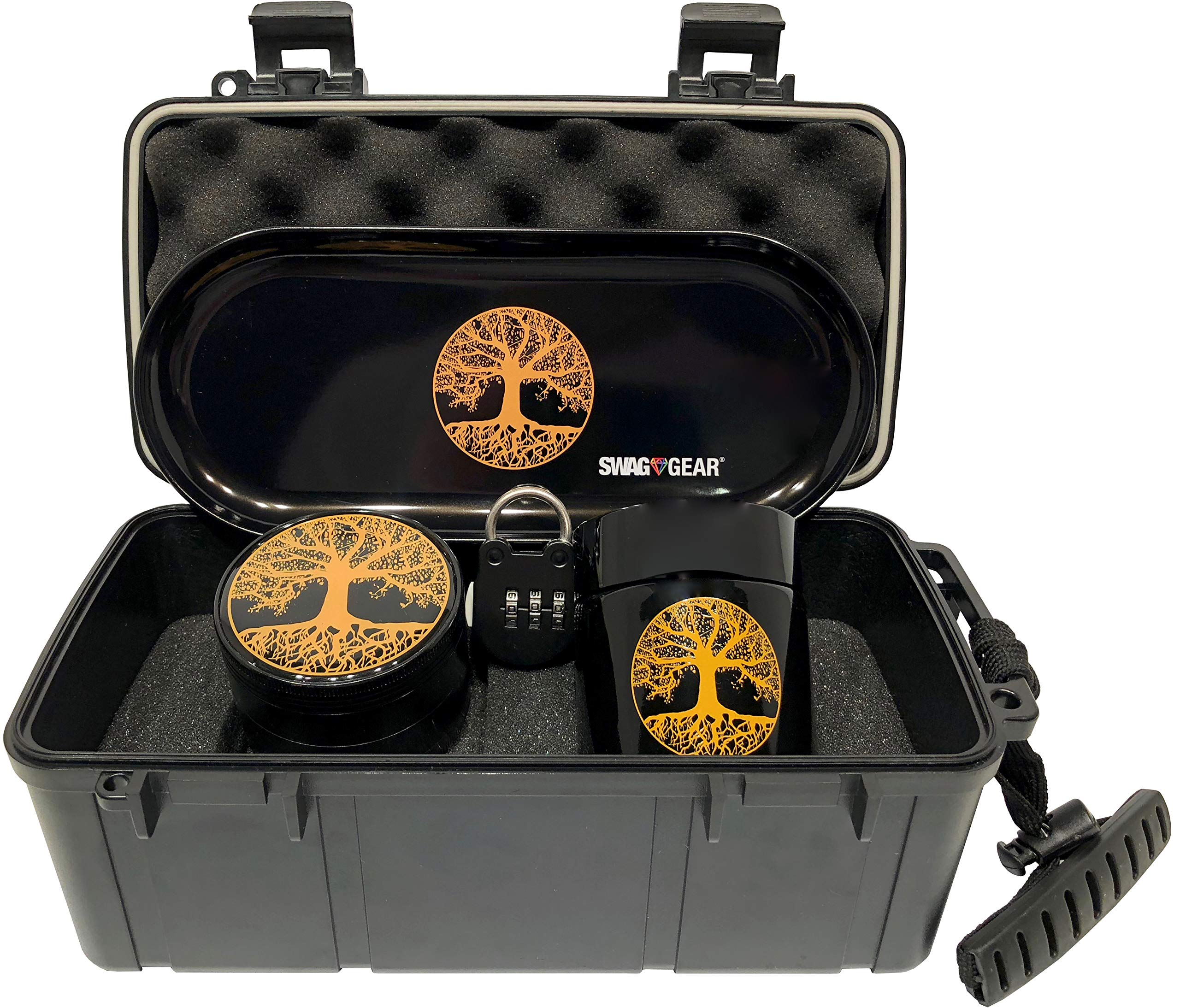 Tree of Life Stash Box Combo - Locking Smell Proof Case with Grinder Stash Jar and Rolling Tray - Ultimate Stash Combo! Odor proof Discrete Stash Container with Accessories (Tree of Life) by SwagGear