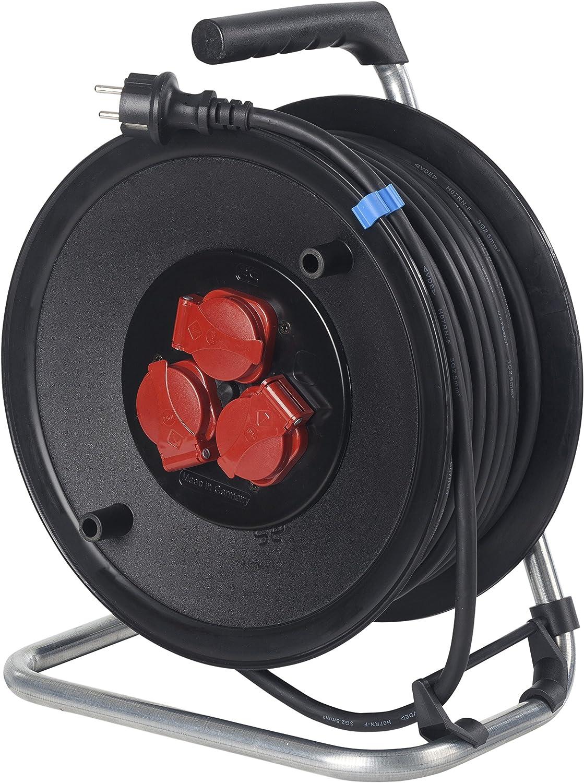 AS Schwabe 10116 color negro Carrete alargador de cable metal, 25 m, H05RR-F 3G1,5, IP44 en exteriores