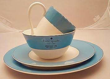 16 Piece Kate Spade Lenox Rutherford Circle Turquoise Blue Pattern Dinner U0026  Salad Plate,