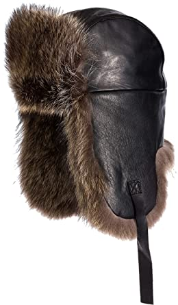 Overland Sheepskin Co Canadian Lambskin Leather Trapper Hat with Raccoon Fur  Trim Black Natural 25c366b6d01f