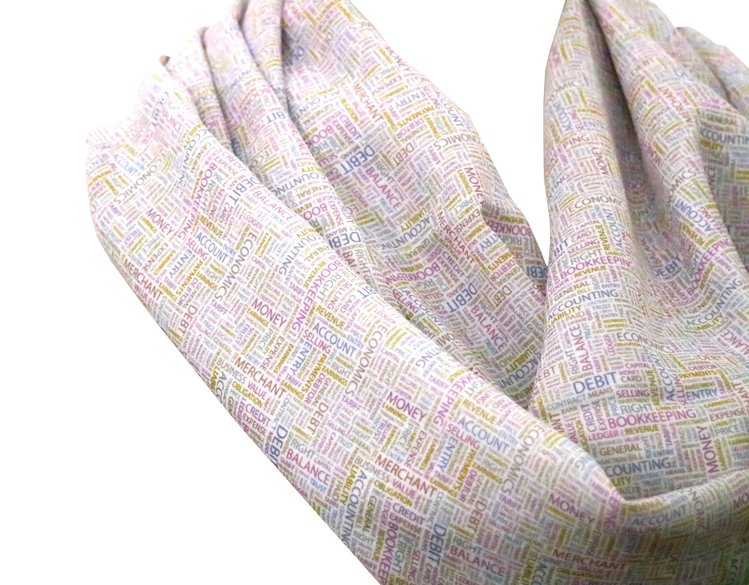 Handmade Accounting and finance scarf, for CPAs, Accountants, and Finance professionals. Birthday Gift for her for, gift idea for her - White