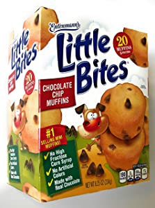 Entenmann's | Little Bites | Chocolate Chip Muffins | Delicious | Yummy | |Tasty | | 5 Pouches with 4 muffins each | | Total 20 Muffins | | 8.25 oz | (1 Box) |