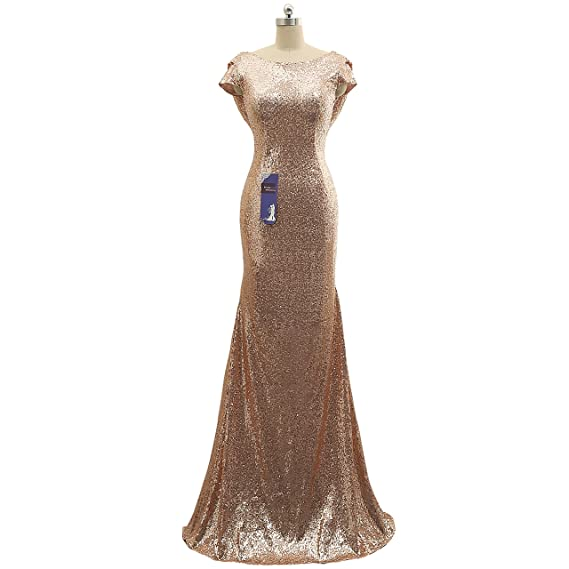 Mermaid Prom Dress Bridesmaid Gown Evening Dress Party Dress Rose Gold (18W)