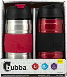 Bubba HERO Grip Stainless Steel Travel Mugs, 12 oz, SS/Cranberry & Cranberry