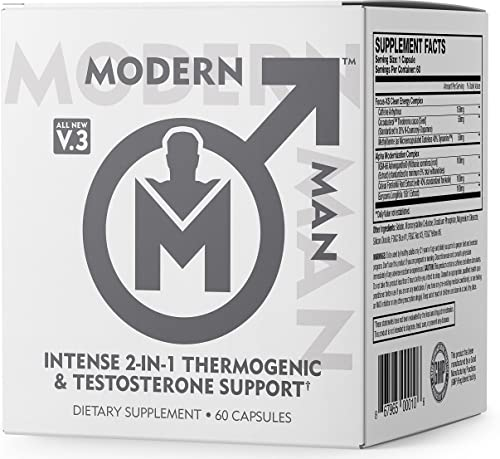 Modern Man V3 – Testosterone Booster Thermogenic Fat Burner for Men, Boost Focus, Energy Alpha Drive – Anabolic Weight Loss Supplement Lean Muscle Builder Lose Belly Fat – 60 Pills