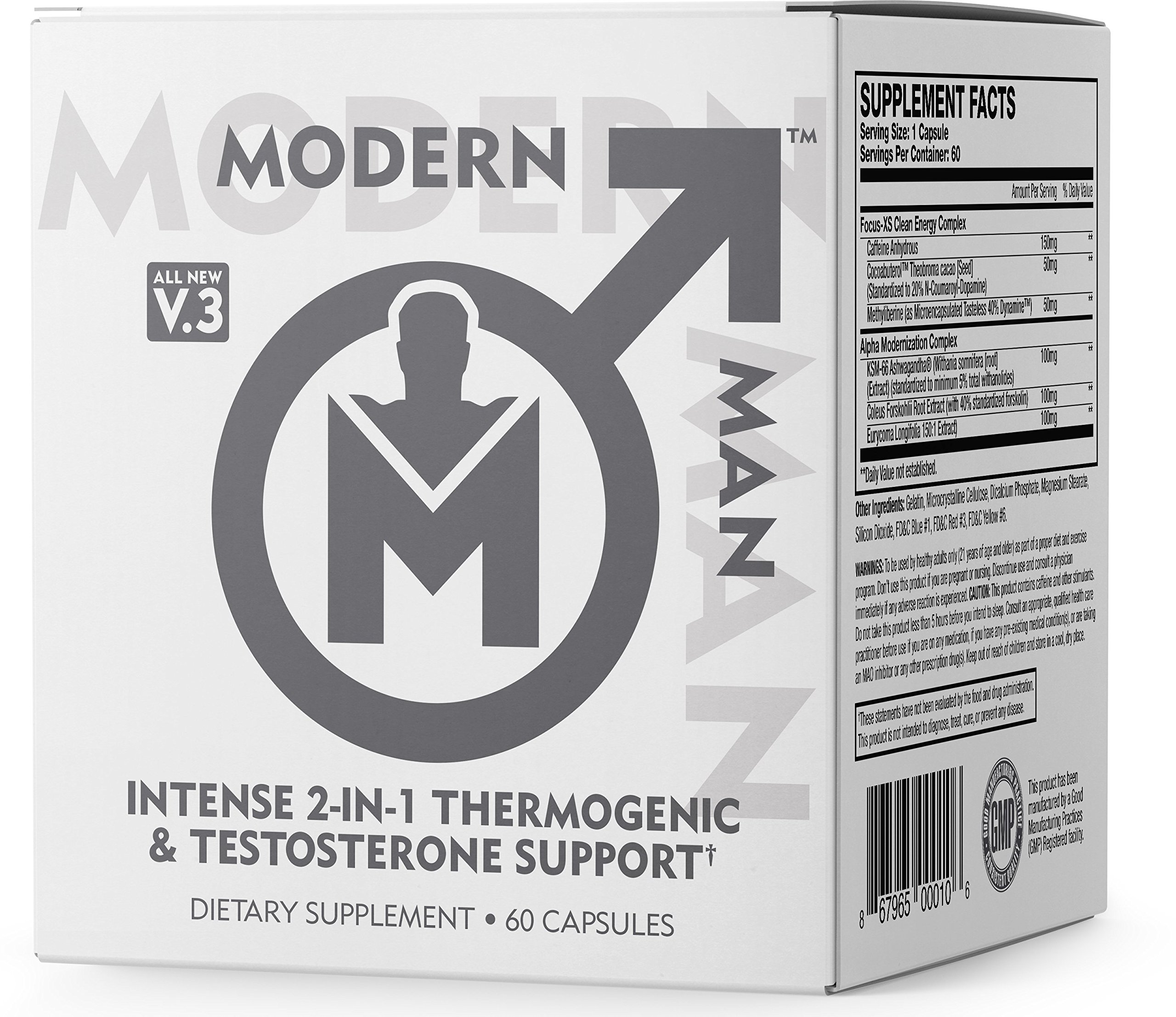 Modern Man V3 - Testosterone Booster + Thermogenic Fat Burner for Men, Boost Focus, Energy & Alpha Drive - Anabolic Weight Loss Supplement & Lean Muscle Builder | Lose Belly Fat - 60 Pills by Modern Man Products