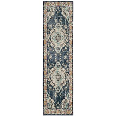 Safavieh Monaco Collection Vintage Bohemian Navy and Light Blue Distressed Runner (2'2  x 6')