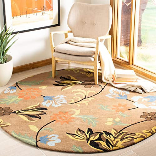 Safavieh Soho Collection SOH736A Handmade Brown and Multi Premium Wool Round Area Rug 6 Diameter