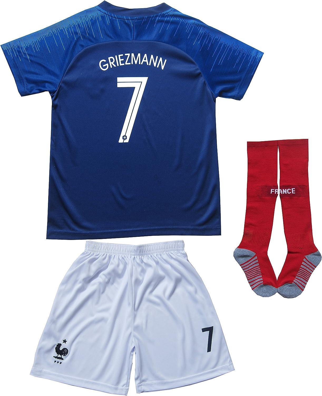 KID BOX 2018 Francia Antoine Griezmann #7 Home Blue - Calcetines de fútbol para niños, Talla para jóvenes