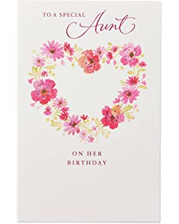 Floral Birthday Card For Aunt With Glitter