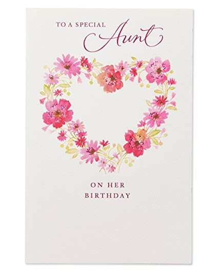 Amazon Floral Birthday Card For Aunt With Glitter Office