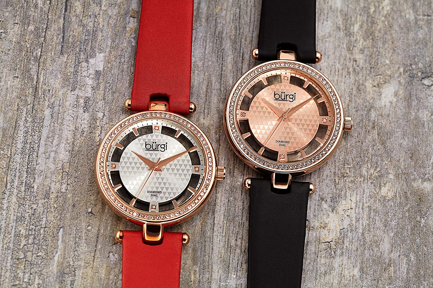 Burgi Swarovski Crystal Studded Watch - 4 Genuine Diamond Markers, See Through and Sunray Dial On Satin Over Leather Women's Watch - BUR104 Red