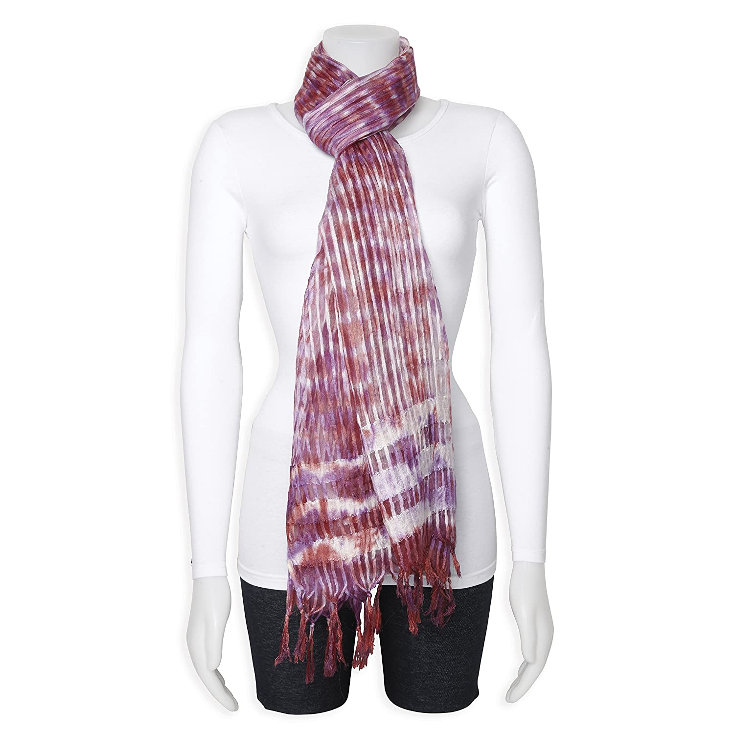 Sweet Pea Fashion Burgundy//Purple//White Sheer Stripe Viscose Fashion Scarf