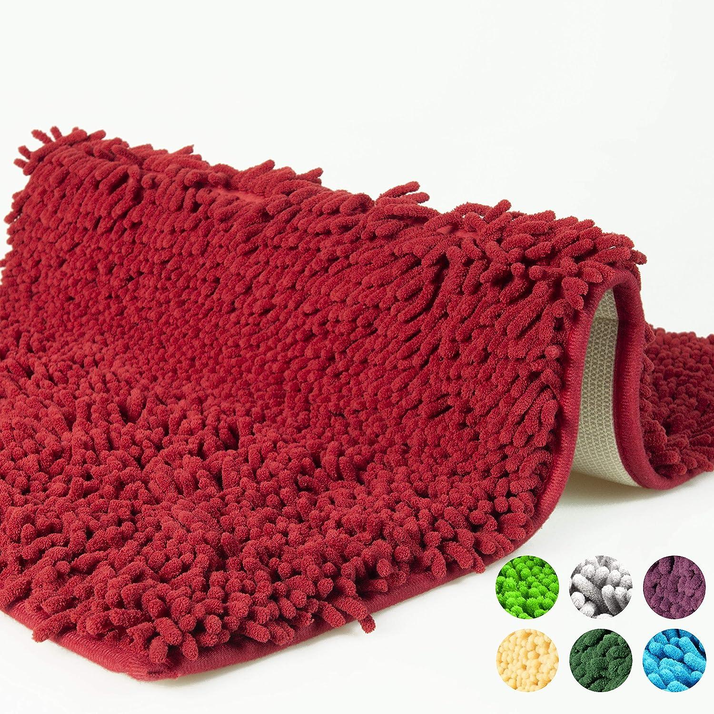 YIQI Alfombra de ba/ño de Felpa de Microfibra de Chenilla Suave y acogedora Gruesa para Dormitorio de ba/ño Agua s/úper Absorbente p/úrpura Antideslizante