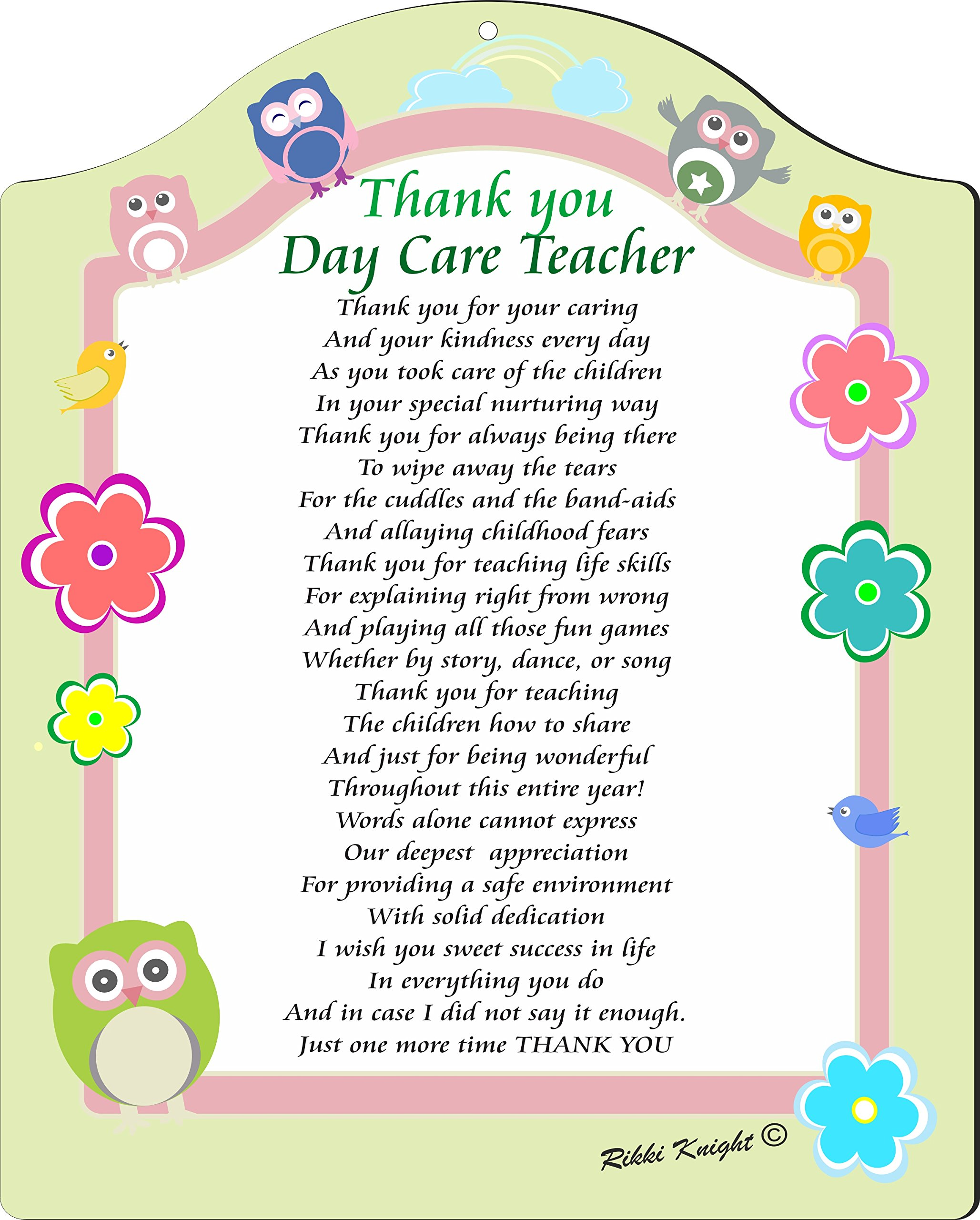 Rikki Knight Thank You Day Care Teacher Poem Plaque, 8x10, Daycare