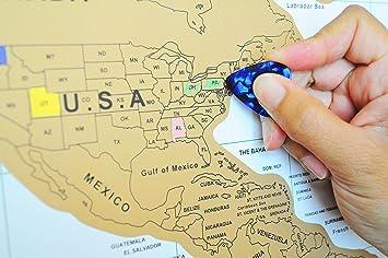 Amazoncom World Travel Tracker Map All USA States Scratch Off