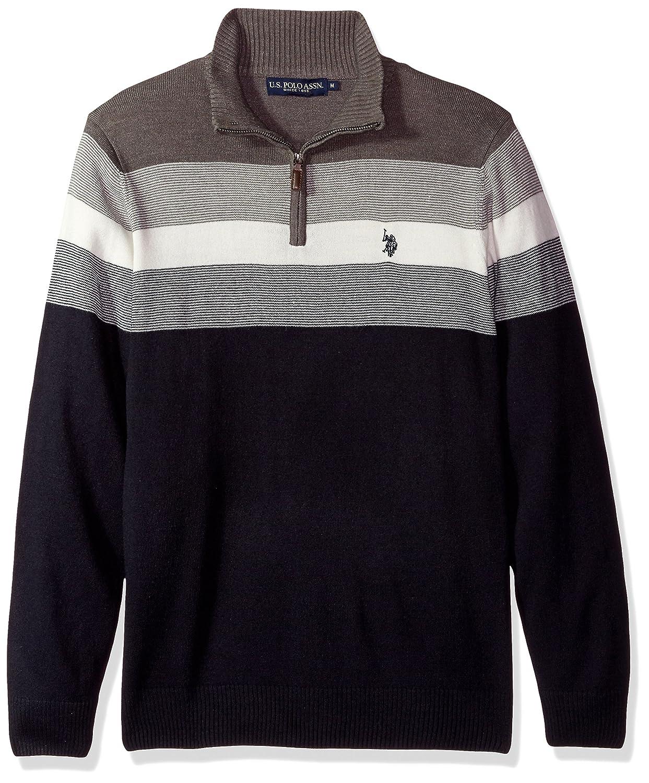 U.S. Polo Assn. Men's Stripe Color Block V-Neck Sweater ACUF7S5763