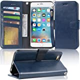 """Arae wallet case for iPhone 6s Plus / iPhone 6 plus [Kickstand Feature] PU leather with ID&Credit Card Pockets For Iphone 6 Plus / 6S Plus 5.5"""" (not for 6/6s) (Blue)"""