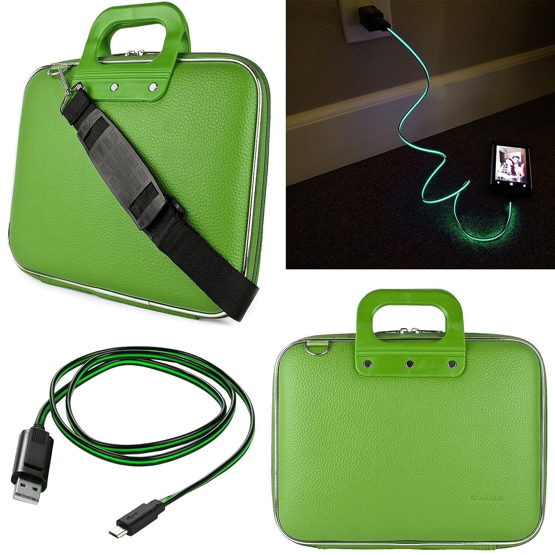 SumacLife 10.1インチタブレット用メッセンジャーバッグHipstreet w10 & w10 Pro with Lightning micro USBデータケーブル(緑)   B019HW97SM