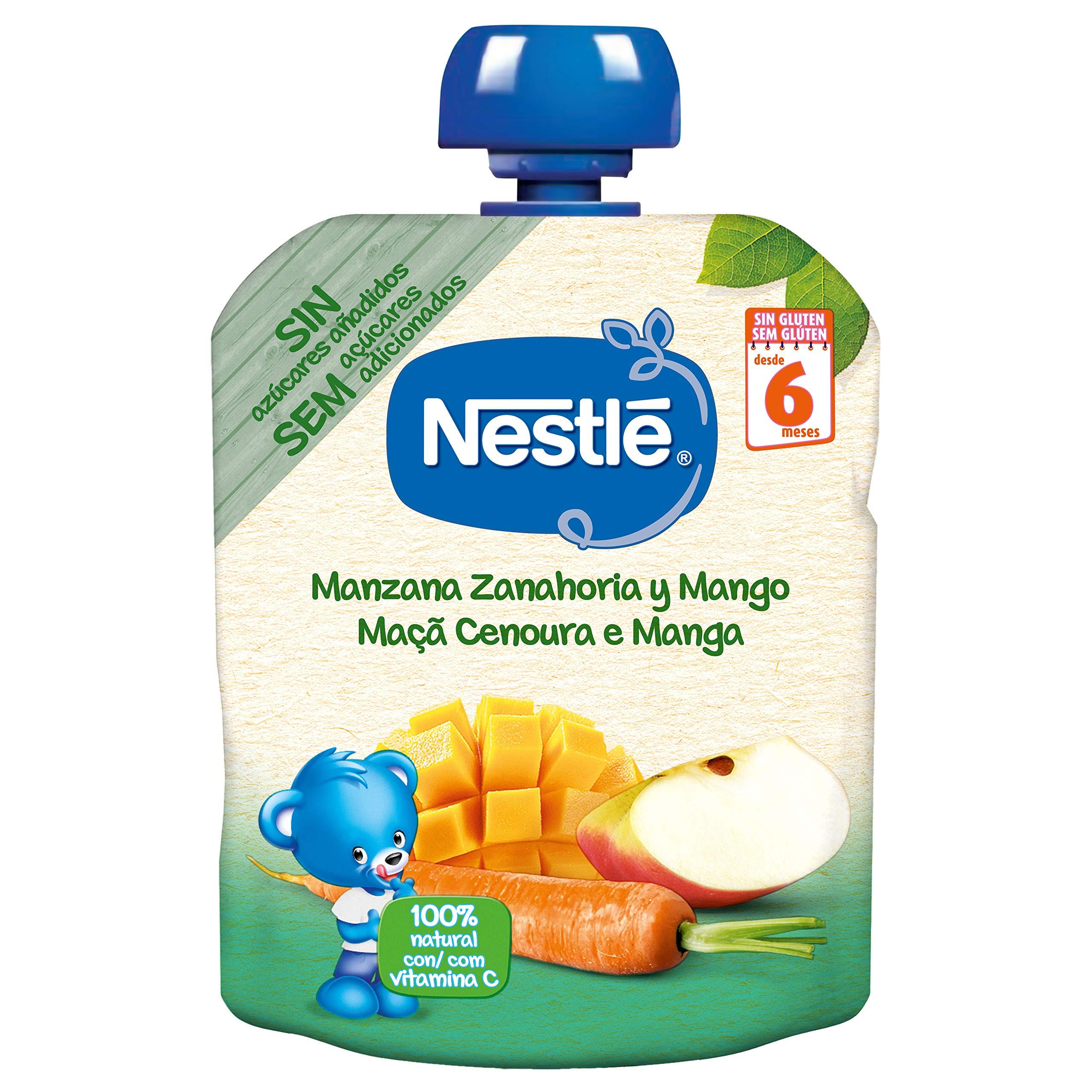 Nestlé Bolsita de puré de frutas, variedad Manzana Zanahoria y Mango - Para bebés a partir de 6 meses - Paquete de 16 bolsitasx90g