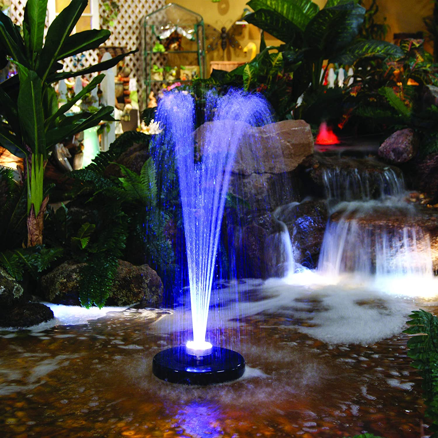 Alpine Corporation FTC102 550-GPH Pump 48-LED Light Floating Spray Fountain, 530 gph, Beige