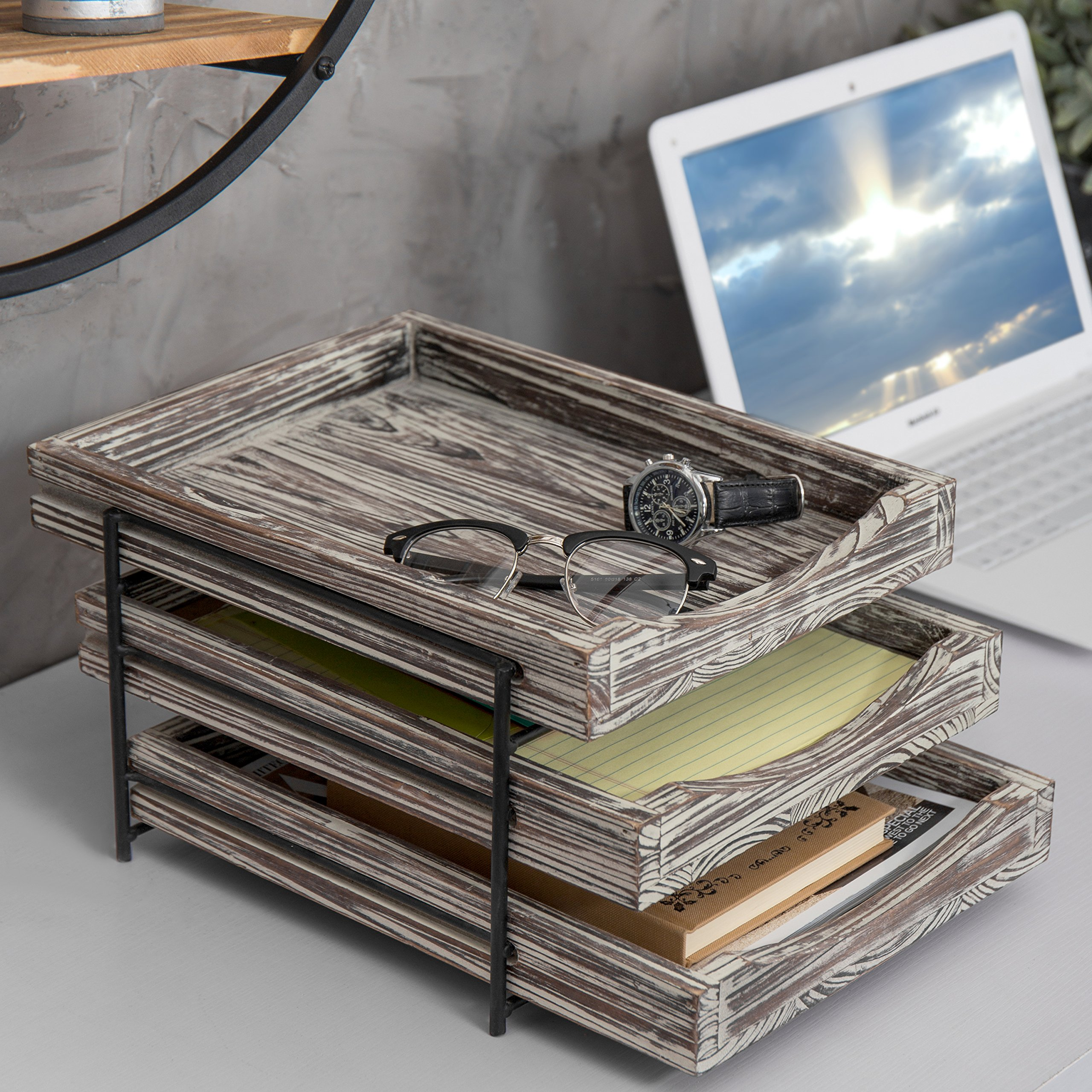 MyGift 3-Tier Rustic Torched Wood & Black Metal Document Organizer with Sliding Trays by MyGift (Image #3)