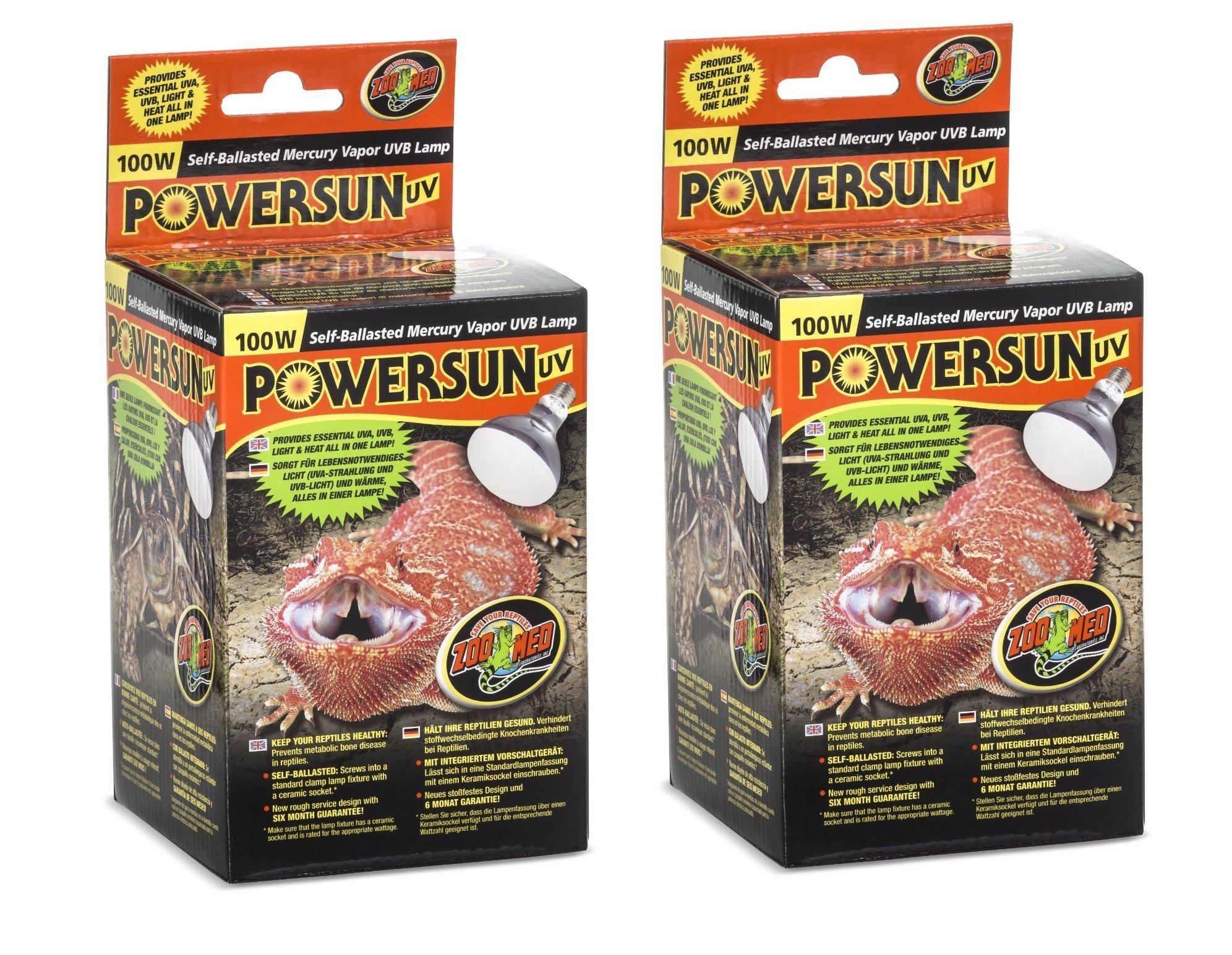 Zoo Med PowerSun UV Mercury Vapor Lamp 100 Watts (2 Pack)