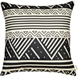 """Fjfz Cotton Linen Home Decorative Aztec Print Tribal Throw Pillow Case Cushion Cover for Sofa Couch Chair Geometric Pattern, Black and White, 18"""" x 18"""""""