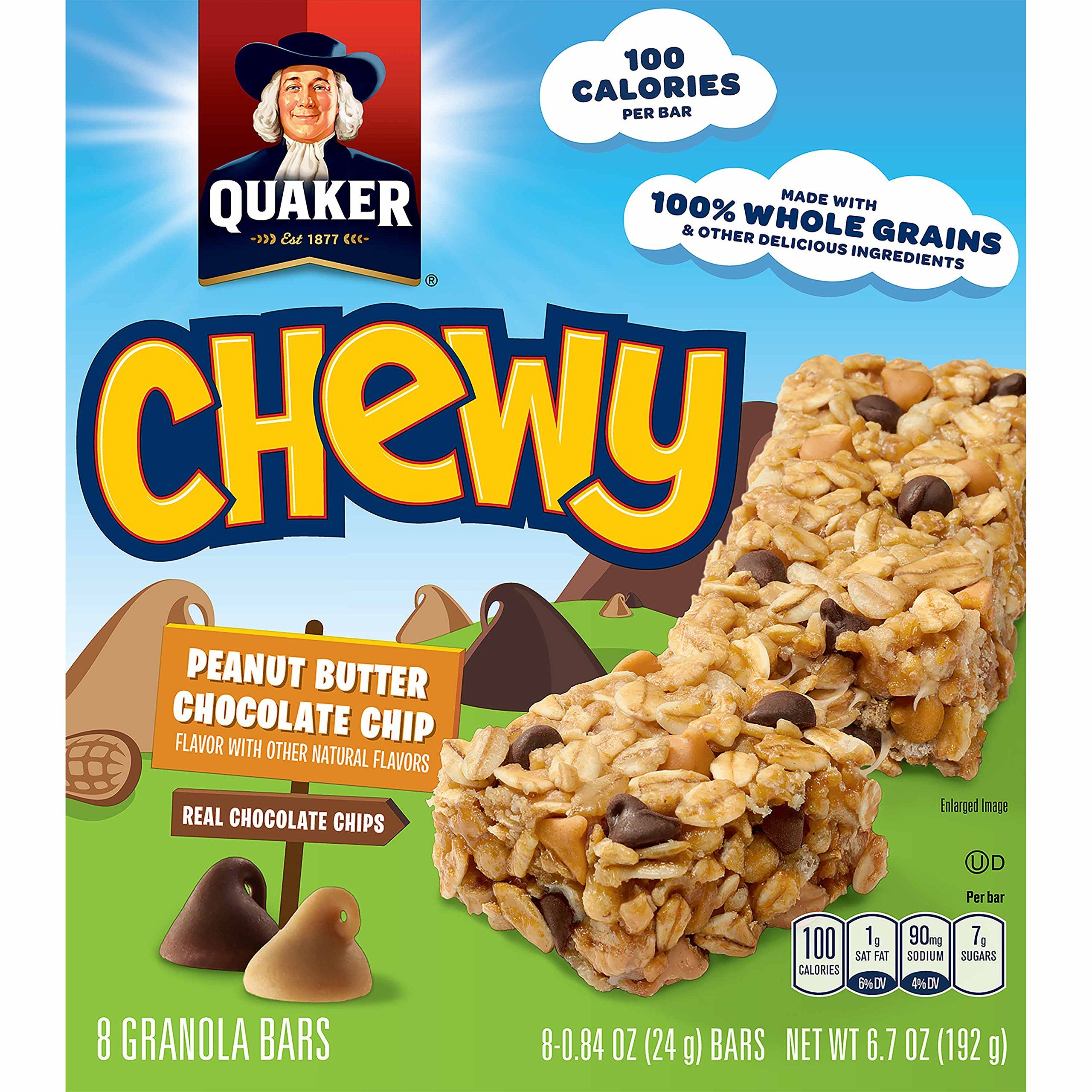 Quaker Chewy Granola Bars, Peanut Butter Chocolate Chip, 8 Bars Per Box/net wt 6.7 OZ (Pack of 12)