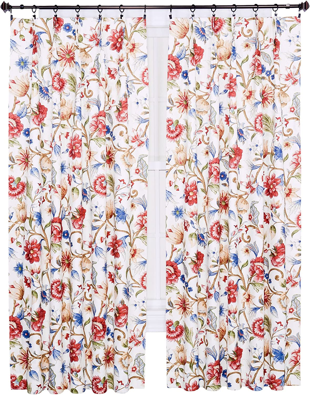 Amazon Com Ellis Curtain Cornwall Jacobean Floral Thermal Insulated Pinch Pleated Patio Panel 96 By 84 Inch Multicolor Home Kitchen