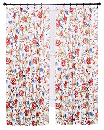 Ellis Curtain Cornwall Jacobean Floral Thermal Insulated Pinch Pleated  Patio Panel, 96 By 84