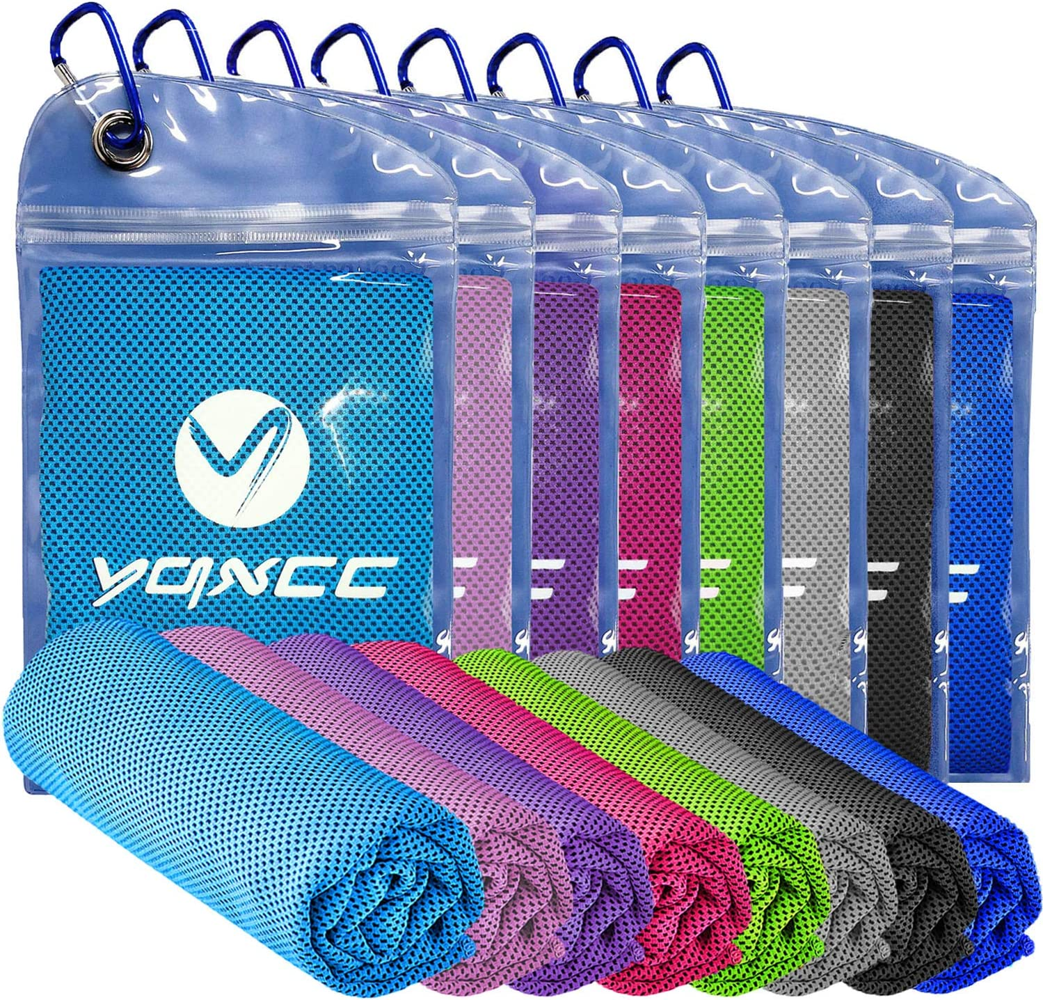 """YQXCC Cooling Towel 4 Packs (47""""x12"""") Microfiber Towel Yoga Towel for Men or Women Ice Cold Towels for Yoga Gym Travel Camping Golf Football & Outdoor Sports (8 Packs Multiple Colors)"""