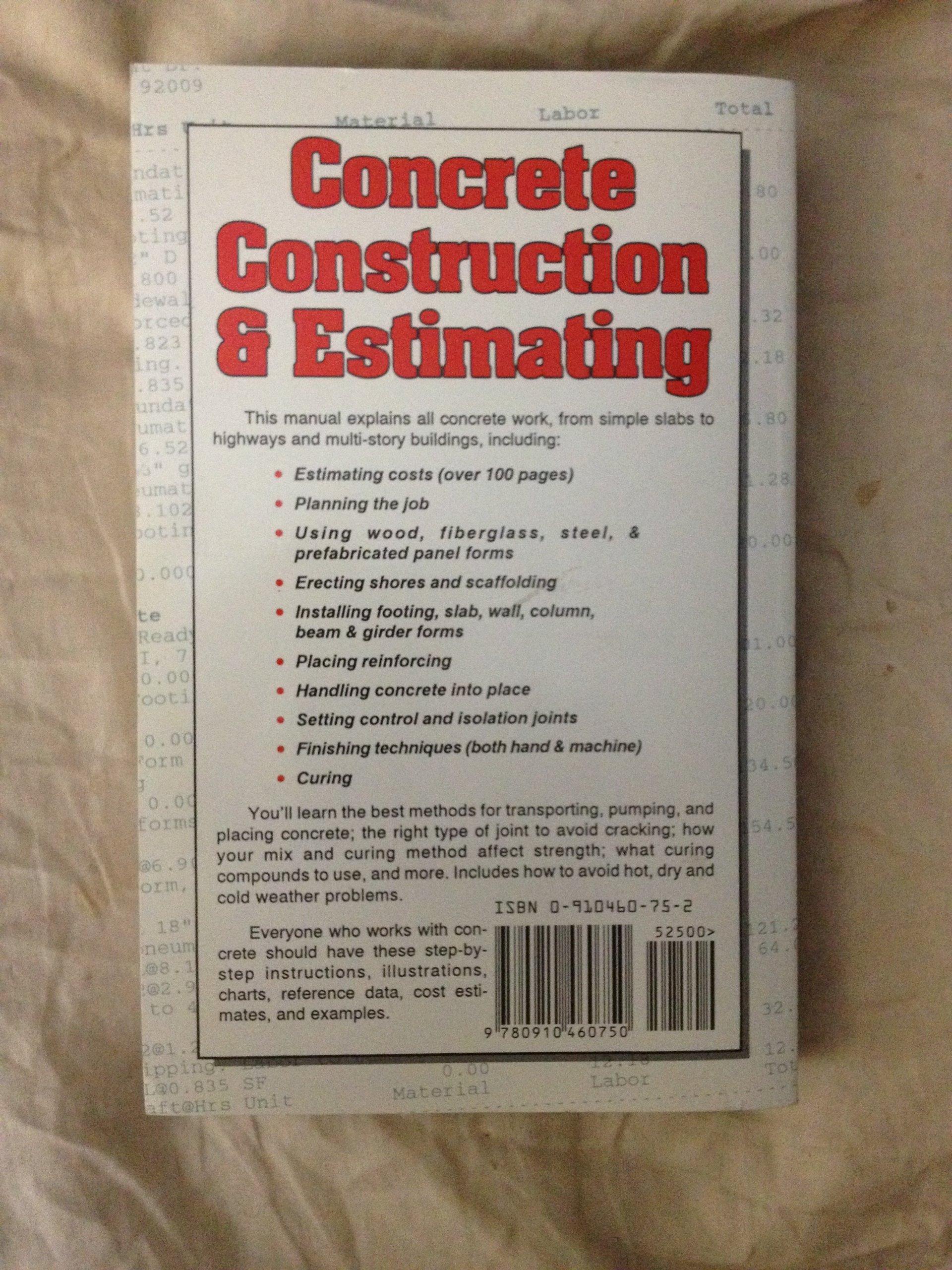 concrete construction and estimating craig avery  concrete construction and estimating craig avery 9780910460750 com books