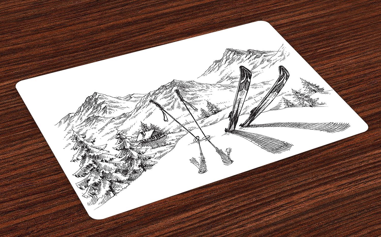 Lunarable Sports プレースマット 4枚セット 冬の季節のアクティビティ スキー用 ギアセット 山の上 エベレスト スケッチイメージ 洗える生地 ダイニングルーム キッチン テーブル装飾 ホワイト   B077SHX1J9