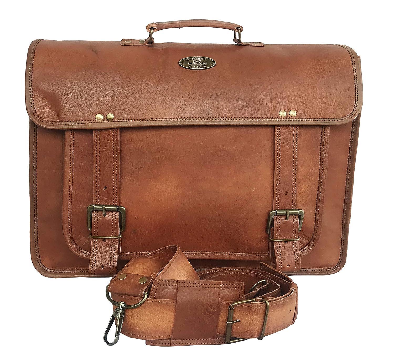 Amazon.com  RK Unisex Vintage Genuine Handmade Leather Briefcase Laptop  Messenger Shoulder Bag for Office College -16 x 12 x 5 Inches dbd68d4e526fd