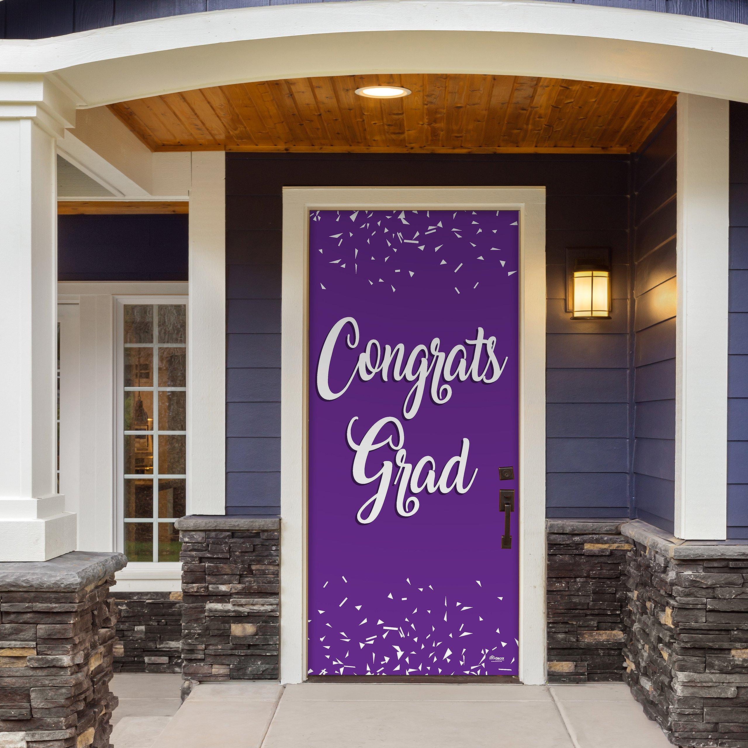 Victory Corps Congrats Grad Purple - Outdoor GRADUATION Garage Door Banner Mural Sign Décor 36'' x 80'' One Size Fits All Front Door Car Garage -The Original Holiday Front Door Banner Decor