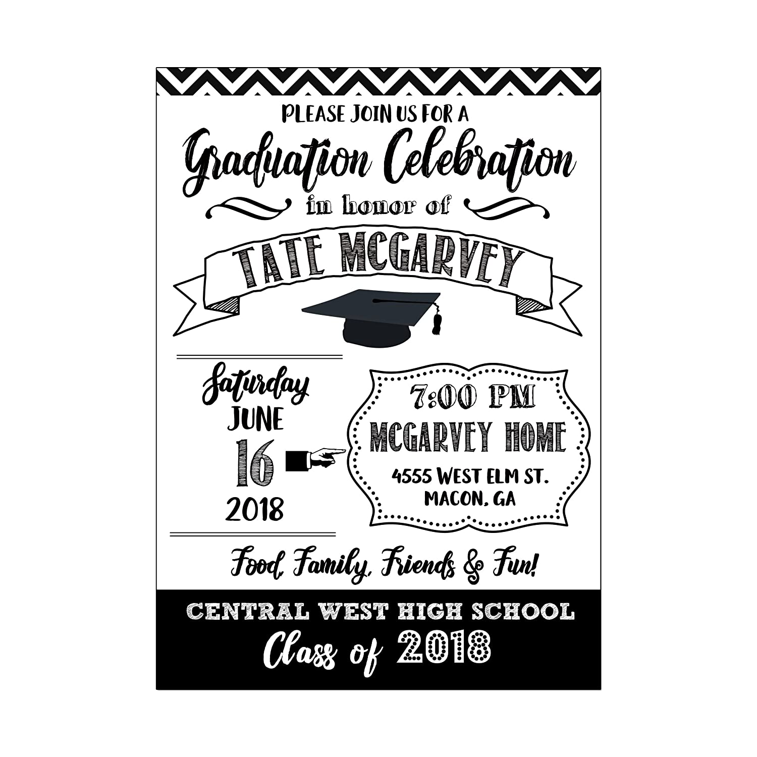 Amazon.com: Black and White Modern Graduation Invitation, High School Graduation  or College Graduation Invitations, Set of 10 printed invitations: Handmade