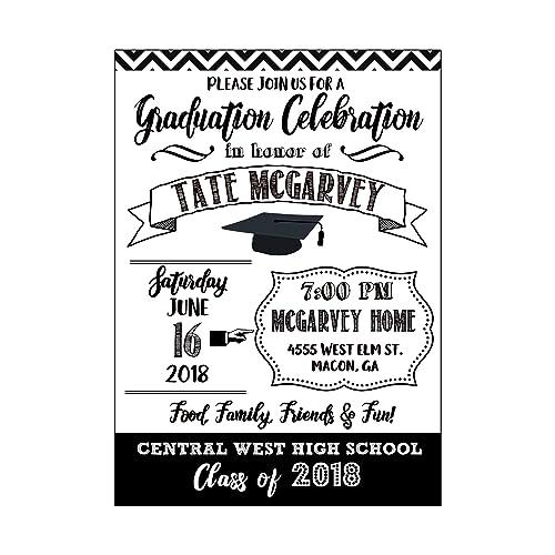 amazon com black and white modern graduation invitation high