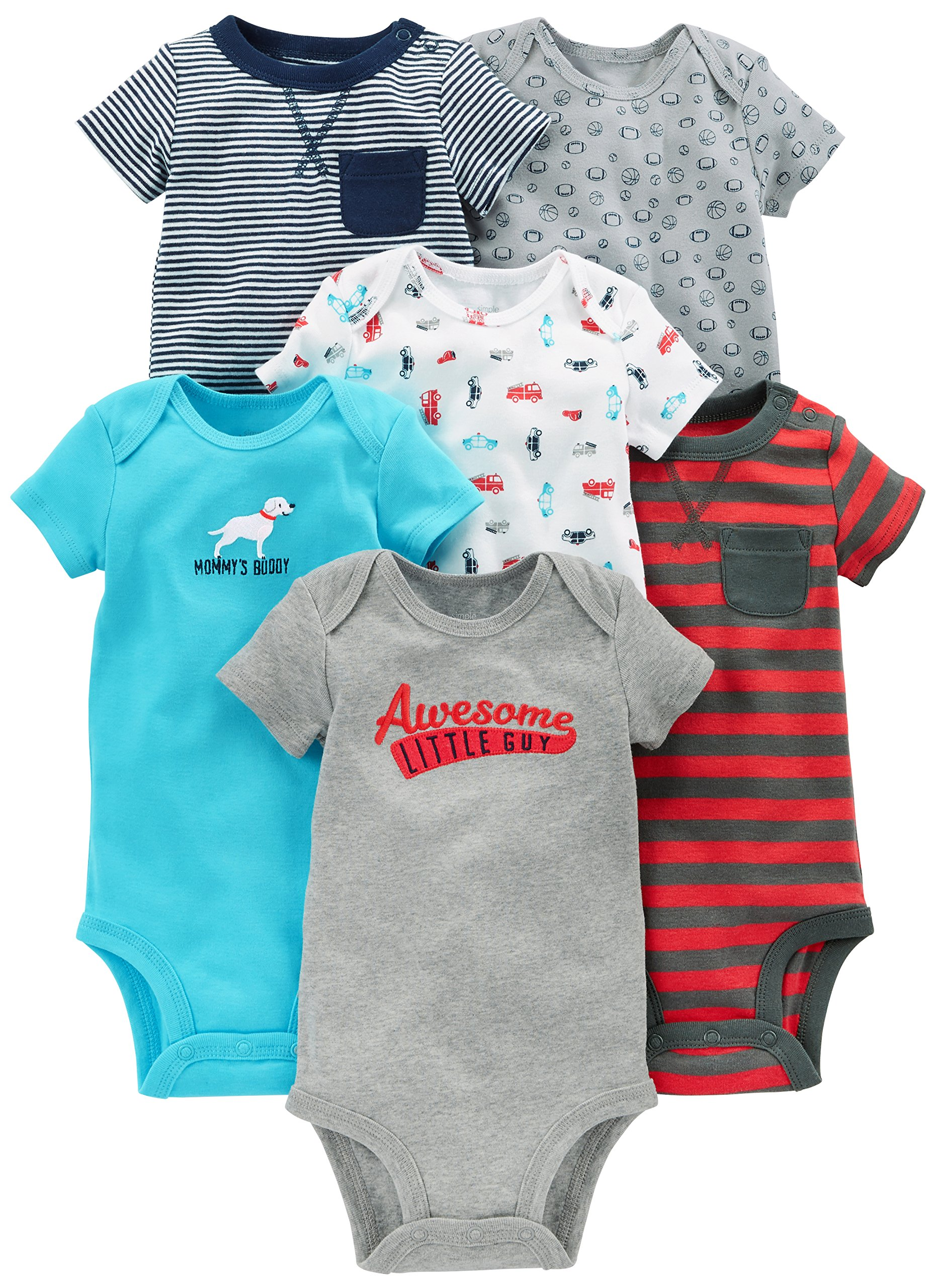 Simple Joys by Carter's Baby Boys' 6-Pack Short-Sleeve Bodysuit, Navy/Red, 6-9 Months