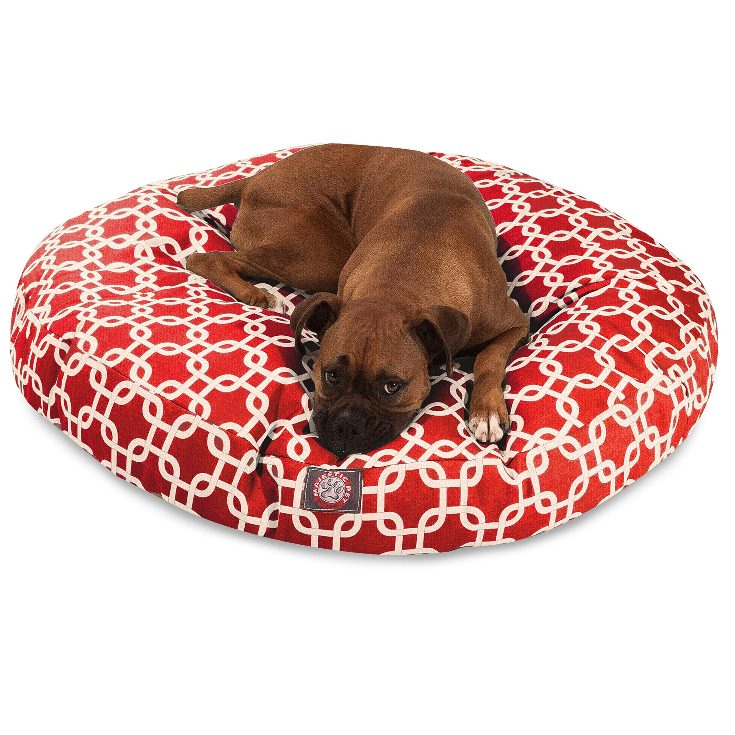 Red Links Large Round Indoor Outdoor Pet Dog Bed With Removable Washable Cover By Majestic Pet Products by Majestic Pet
