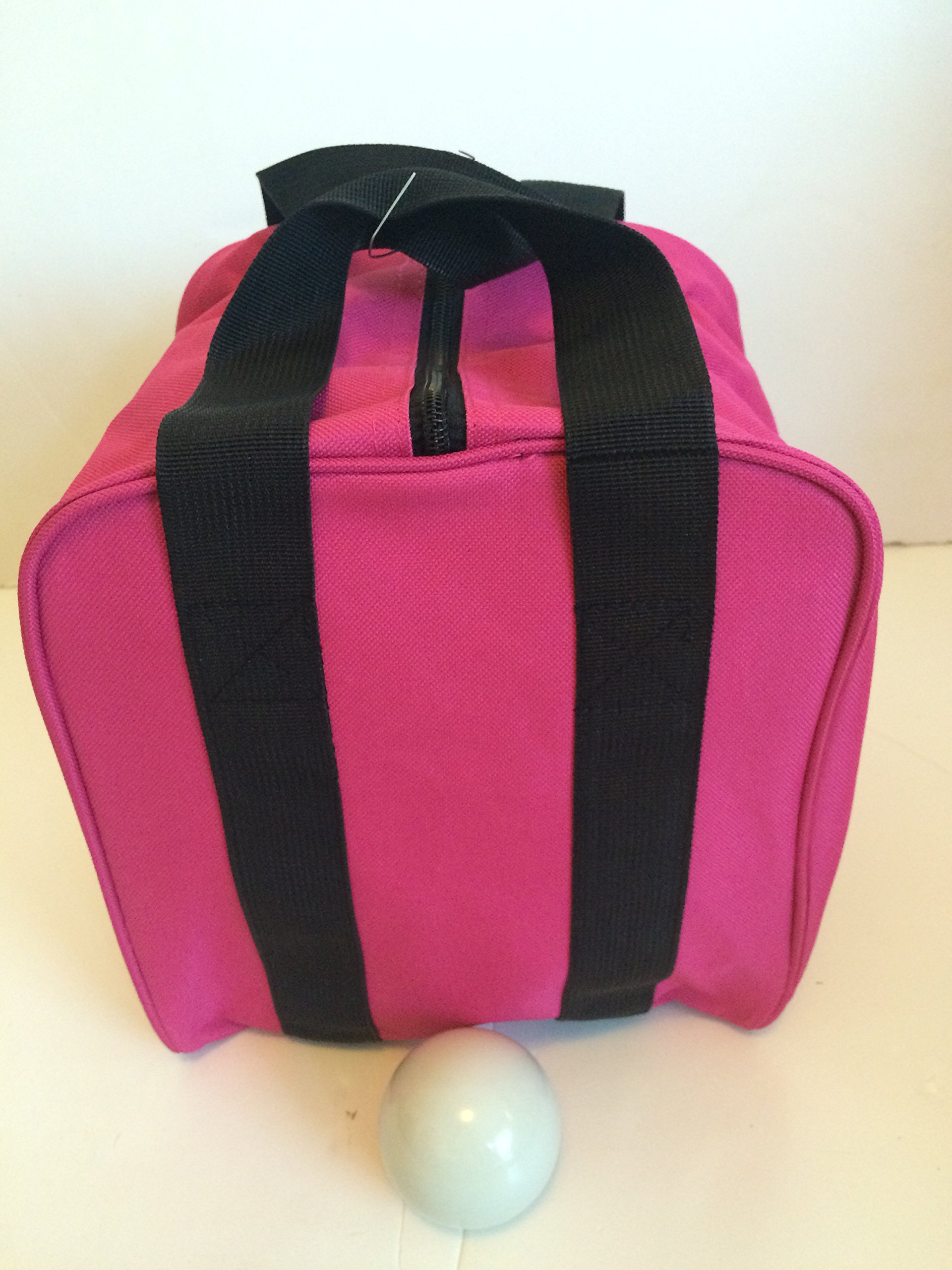 Unique Bocce Accessories Package - Extra Heavy Duty Nylon Bocce Bag (Pink with Black Handles) and White pallina